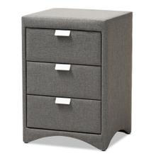 See Details - Baxton Studio Talia Modern and Contemporary Grey Fabric Upholstered 3-Drawer Nightstand