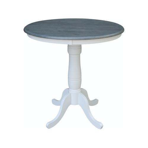 """36"""" Pedestal Table in Heather Gray / White"""