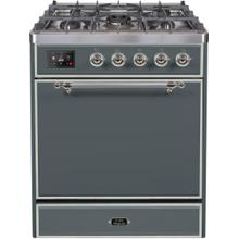 See Details - Majestic II 30 Inch Dual Fuel Natural Gas Freestanding Range in Blue Grey with Chrome Trim