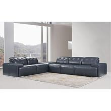 Divani Casa Grafton Modern Blue Leather Sectional Sofa