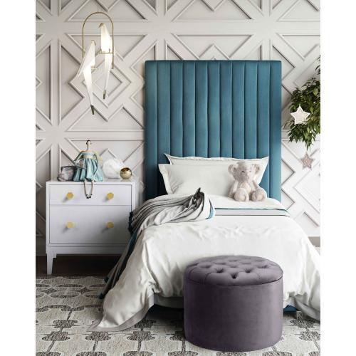Tov Furniture - Queen Grey Velvet Storage Ottoman