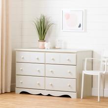 Summer Breeze - 6-Drawer Double Dresser, White Wash
