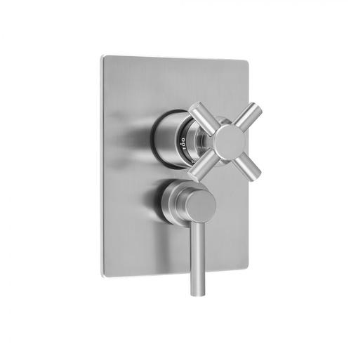 """Antique Brass - Rectangle Plate with Contempo Cross Thermostatic Valve and Contempo Lever Volume Control Trim for 1/2"""" Thermostatic Valve with Integral Volume Control (J-THVC12)"""