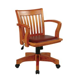 See Details - Deluxe Wood Banker's Chair With Vinyl Padded Seat In Fruit Wood Finish With Brown Vinyl