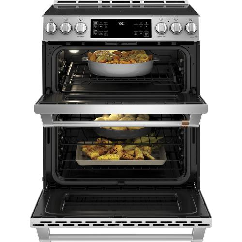 """Café 30"""" Slide-In Front Control Induction and Convection Double Oven Range Stainless Steel"""