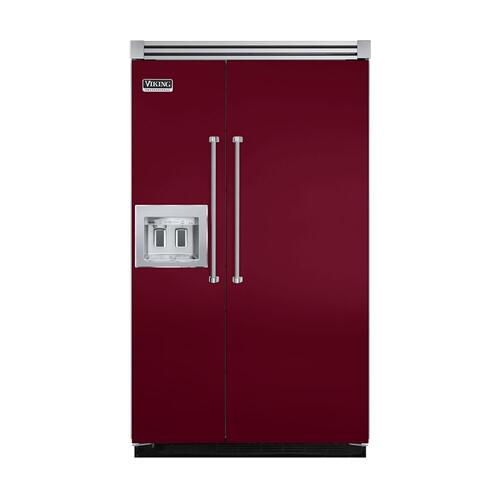 "Viking - Burgundy 48"" Quiet Cool™ Side-by-Side with dispenser - VISB Tru-Flush™ (48"" wide)"