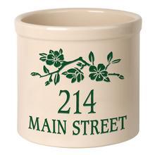 Personalized Dogwood Branch 2 Gallon Stoneware Crock - Green Engraving / Bristol Crock