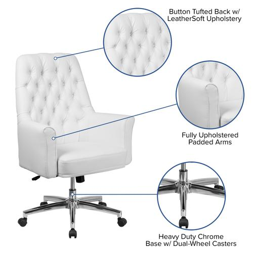 Gallery - Mid-Back Traditional Tufted White LeatherSoft Executive Swivel Office Chair with Arms