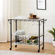 Bar Cart - Faux Marble and Black