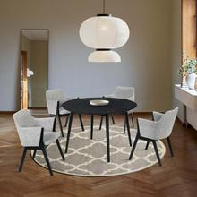 """See Details - Arcadia and Renzo 48"""" Round Grey and Black Wood 5 Piece Dining Set"""