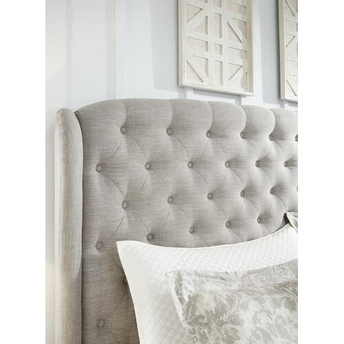 Winged King Upholstered Bed