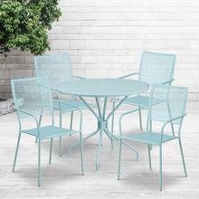 "Commercial Grade 35.25"" Round Sky Blue Indoor-Outdoor Steel Patio Table Set with 4 Square Back Chairs"