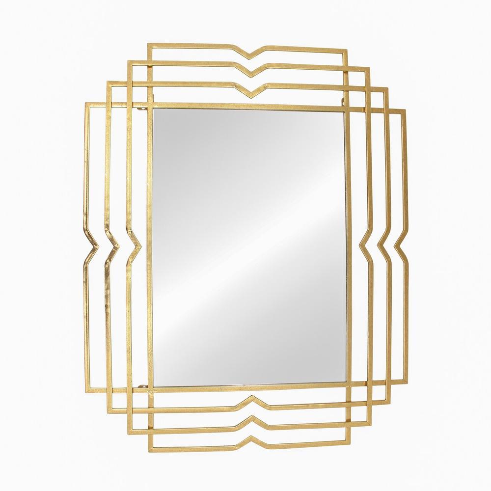 """See Details - Metal 39"""" Rectangular Mirror, Gold"""