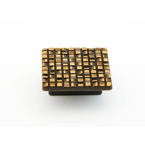 "Mosaic, Square Knob, 1-7/8"" diameter, French Antique Bronze finish"