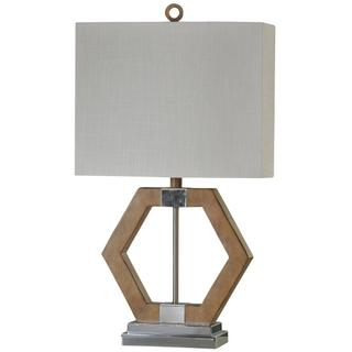 Karachi Geometric Table Lamp with Chrome Metal Accents & Hardback Shade