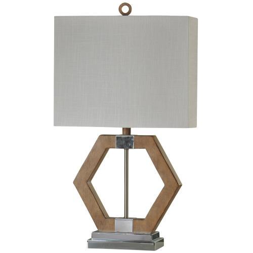 Product Image - Karachi Geometric Table Lamp with Chrome Metal Accents & Hardback Shade