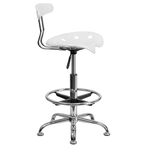 Flash Furniture - Vibrant White and Chrome Drafting Stool with Tractor Seat