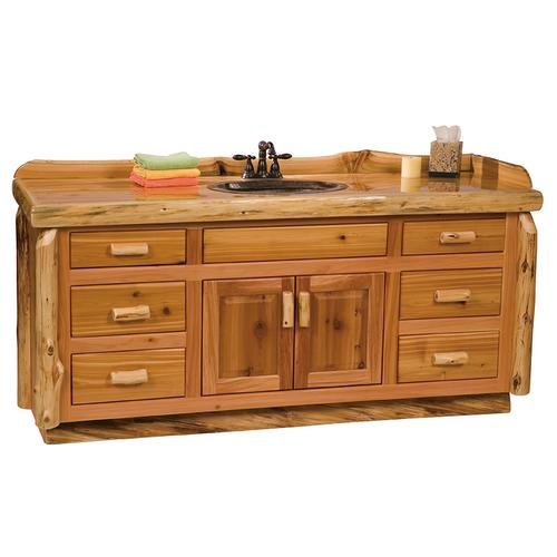 Vanity with Top - 72-inch - Natural Cedar - Sink Center - Liquid Glass