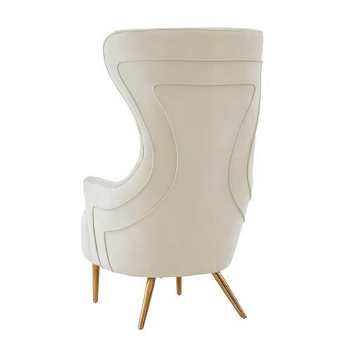 Tov Furniture - Jezebel Cream Velvet Wingback Chair