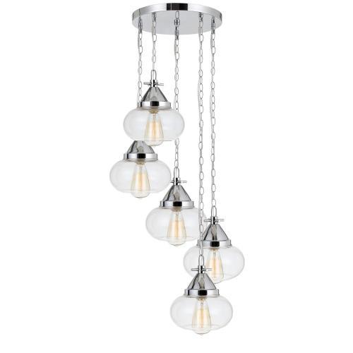 60W X 5 Maywood Glass Pendant (Edison Bulbs Not included)