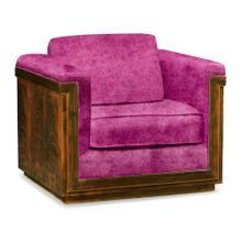 40'' Antique Mahogany Brown High Lustre Sofa Chair, Upholstered in Fuschia Velvet