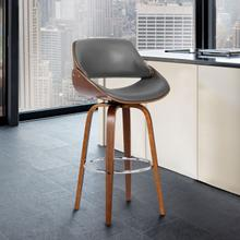 """Mona Contemporary 26"""" Counter Height Swivel Barstool in Walnut Wood Finish and Grey Faux Leather"""