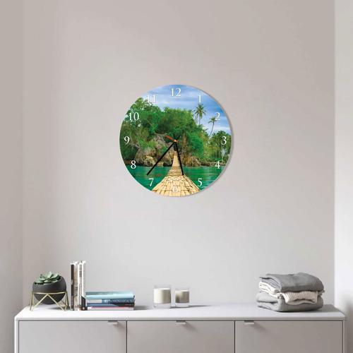 Grako Design - Bridge On Beach Round Square Acrylic Wall Clock