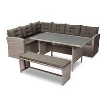 See Details - Baxton Studio Eneas Modern and Contemporary Dark Grey Fabric Upholstered and Grey Rattan 3-Piece Outdoor Patio Lounge Corner Sofa Set
