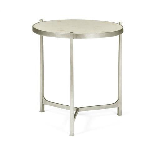 Large Scagliola & Silver Round Side Table