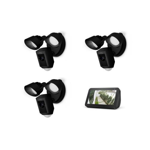 3-Pack Floodlight Cam with Echo Show 5 - Black