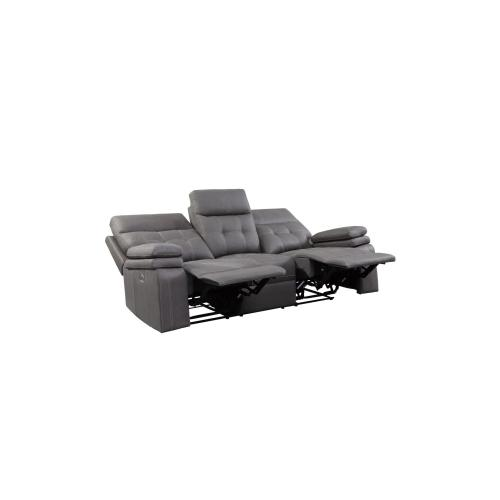 Power Double Reclining Love Seat with Center Console and Power Headrests, USB Port
