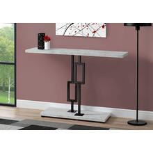 """ACCENT TABLE - 48""""L / GREY CEMENT / BLACK NICKEL METAL"""