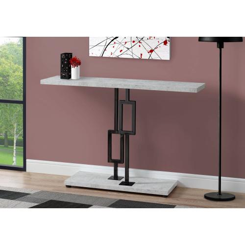 """Gallery - ACCENT TABLE - 48""""L / GREY CEMENT / BLACK NICKEL METAL"""