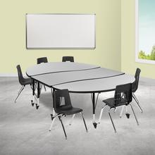 """Mobile 86"""" Oval Wave Collaborative Laminate Activity Table Set with 14"""" Student Stack Chairs, Grey\/Black"""