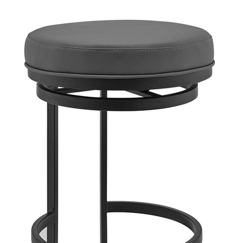 """Vander 30"""" Gray Faux Leather and Black Metal Swivel Bar Stool"""