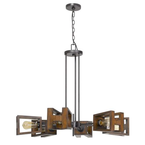 60W X 6 Biel Metal/Wood Chandelier (Edison Bulbs Not included)
