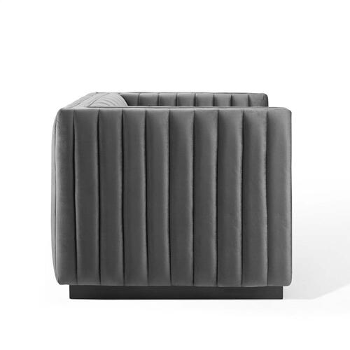 Modway - Conjure Channel Tufted Performance Velvet Accent Armchair in Gray