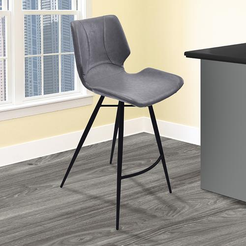 """Armen Living Zurich 26"""" Counter Height Metal Barstool in Vintage Gray Pu and Black Metal Finish"""