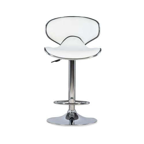 360-degree Swivel and Adjustable Barstool, Chrome Steel and White