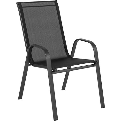 Brazos Series Black Outdoor Stack Chair with Flex Comfort Material and Metal Frame