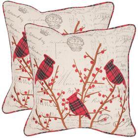 Winter Cardinal Pillow - Beige / Red