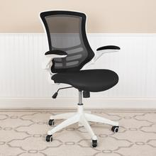 See Details - Mid-Back Black Mesh Swivel Ergonomic Task Office Chair with White Frame and Flip-Up Arms