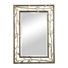 GOLD LEAFED METAL BRANCH FRAMED MIRROR