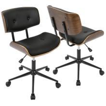 See Details - Lombardi Office Chair - Black Metal, Walnut Wood, Black Pu