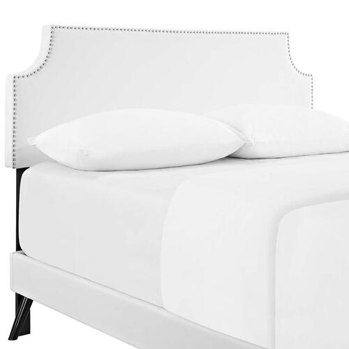 Corene Full Vinyl Platform Bed with Round Splayed Legs in White