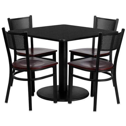 Flash Furniture - 36'' Square Black Laminate Table Set with 4 Grid Back Metal Chairs - Mahogany Wood Seat