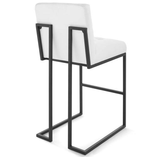 Privy Black Stainless Steel Upholstered Fabric Bar Stool in Black White