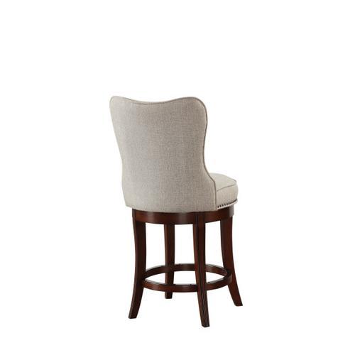 "Nailhead Trim Upholstered 24"" Swivel Barstool in Natural Beige"