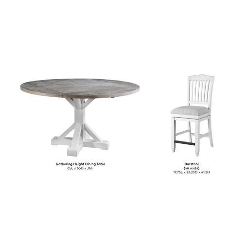Centerville Gathering Height Dining Set, Acorn Gray & Antique White D727-13-24s-09-7pc-k