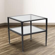See Details - Newport Collection Glass End Table with Black Metal Frame